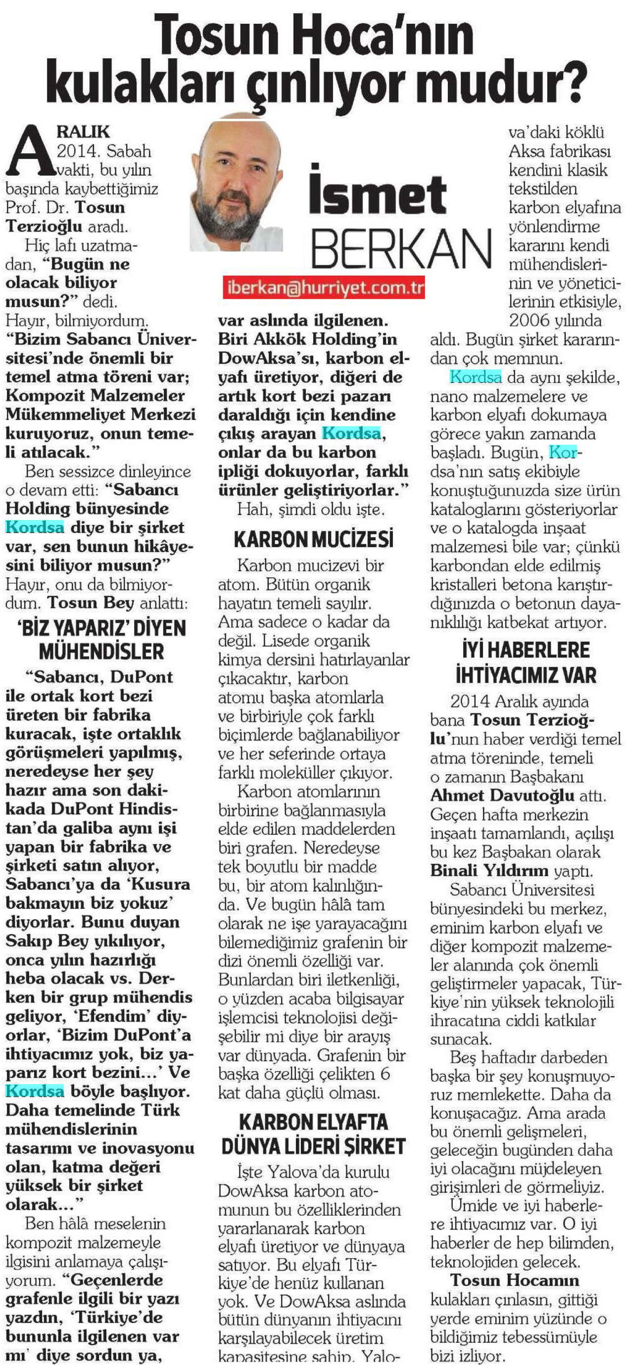İsmet Berkan article on Composite Technologies Center of Excellence Opening Ceremony